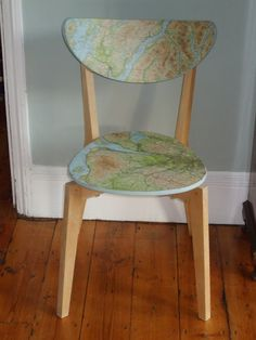 nordmyra chair with map decoupage