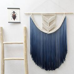 ● D E S C R I P T I O N   This gorgeous handmade extra large macrame wall hanging is made with neutral cotton macrame cord. With this macrame wall hanging youll instantly add a bohemian vibe to your room an it will really warm up a space. ● C O L O R O P T I O N S  You can select the option of your choice in the drop down menu.  - Natural (without dye) - Mustard yellow - Wine Red - Navy Blue - Olive Green - Ash Grey   ● D I M E N S I O N S This macrame wall hanging measures:  Dowel lenght…