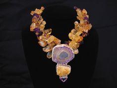 TriciaRocks.com - amber, amethyst, rough, multi-strand