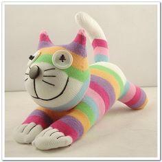Free Shipping Handmade Sock Cheshire Cat Kitty Stuffed Animal Baby Toy