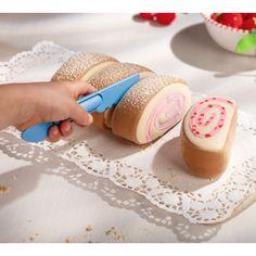 Haba Biofino play food - sponge swiss roll slices & toy cutting knife