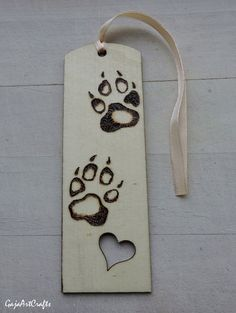 Wooden pyrography burned dog paws bookmark Bookmark with