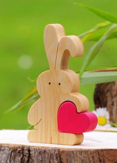 Bunny figurine, wooden bunny stocking filler for baby nephew, rabbit lover gift, Easter gift for kids, Easter bunny love cake topper - Basteln Dekoration Easter Gifts For Kids, Easter Crafts, Love Cake Topper, Cake Toppers, Wooden Rabbit, Diy Ostern, Wood Toys, Love Gifts, Gift For Lover
