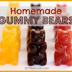 Healthy Snack Ideas - Homemade Gummy Bears made with real fruit and gelatin