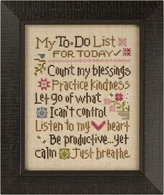 Lizzie Kate - My To Do List Counted Cross Stitch pattern