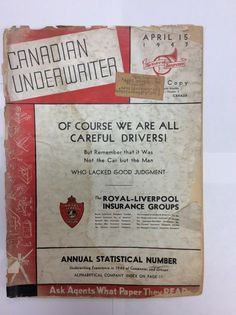 From IBC Library archives: Canadian Underwriter Stat. Issue Great message - and still applicable!