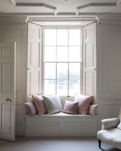 Designing Boiserie is really fun- love this example of the perfect Window seat…