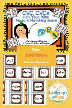 ($1.00) #magice #silente CVC/CVCe Fish Your Wish Magic e Matching Game This game is for 2-4 players. It can be used as an intervention, review, reteach, station game or anytime you can fit it in. My Kiddos usually did this at a choice time, when they were