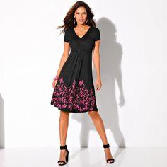 Úpletové šaty s potlačeným spodným lemom