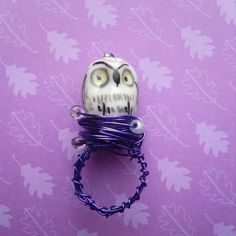Twit Twoo hand wrapped ring by Jaysmonkey on Etsy, £4.50