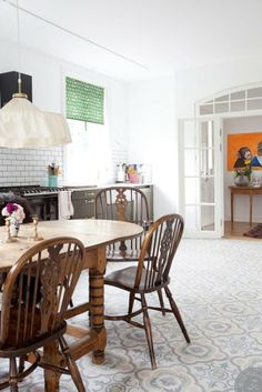 Look! Gorgeous Pastel Kitchen Floor Tiles — Kitchen Inspiration. ...but I pinned it for the cool chairs...oh well.