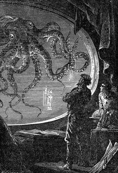 Illustration for Jules Verne's Twenty Thousand Leagues under the Sea (1871) – Alphonse de Neuville & Edouard Riou