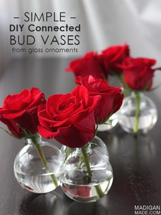Love these easy DIY connected bud vases from glass ornaments