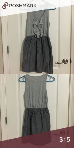 Sleeveless Boutique Style Dress - Size Small This is such a flattering dress! Gray knit top with a stiffer grey pinstripe fabric on the bottom. Originally bought at Francesca's. Size small! I really should have ironed it before taking the picture 😳 but it's still gorgeous! Francesca's Collections Dresses Midi