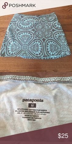 Patagonia organic cotton mini skirt Patagonia organic cotton spandex A line mini skirt. Taupe brown blue tribal print Patagonia Skirts Mini