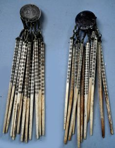Naga hair tassels from sticks , as earrings, (design by and private collection of Linda Pastorino)