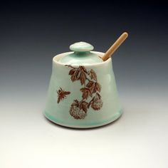 Celadon glazed honey pot with bees buzzing and by emily murphy, $50.00