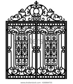 Black metal gate with forged ornaments on a white background Balcony Grill Design, Window Grill Design, Door Design, Black Metal, Metal Fab, Mediterranean Living Rooms, Gates And Railings, Cnc Cutting Design, Iron Gate Design