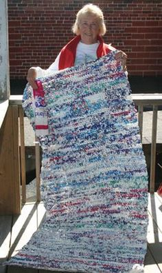 """Plarn"" Crochet to recycle plastic shopping bags.  So many possibilities for this technique--sit-upons, rugs, tote bags, soap dishes.  In this article they are making sleeping mats for the homeless!"