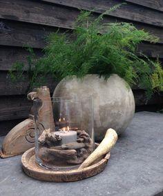 pot à fleurs rond avec asparagus plumosus et vase en verre avec bougie et bois flotté