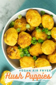 Crunchy, cozy Air Fryer Hush Puppies only take about 20 minutes to make. They're perfect little balls of cornbready goodness! Air Fryer Recipes Vegan, Vegan Breakfast Recipes, Delicious Vegan Recipes, Raw Food Recipes, Cooking Recipes, Cajun Recipes, Vegan Comfort Food, Vegan Food, Punch