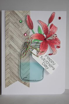 https://flic.kr/p/mbEZCK | Happy Mother's day | EDIT: I got an honorable mention for this card at CAS(E) the Sketch #68 challenge on the 22nd March 2014  A card for the case the sketch challenge casethissketch.blogspot.com/ and word art  wednesday wordartwednesday.blogspot.com/ and simon says wednesday www.simonsaysstampblog.com/wednesdaychallenge/  I've used my favorite lily stamp from Penny Black again which I had stamped, colored with copic markers and cut. Added to the jar stamp from…