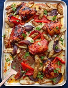 Sticky marmalade chicken traybake - put everything into a tray and stick it in the oven for 45 mins - DONE!