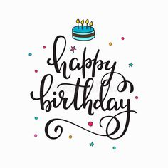 Happy Birthday Party Lettering Typography Set Stock Vector - Illustration of life, glowing: 113463965 Happy Birthday Doodles, Happy Birthday Logo, Happy Birthday Drawings, Birthday Card With Name, Happy Birthday Printable, Birthday Letters, Happy Birthday Parties, Birthday Greetings, Brush Lettering Happy Birthday