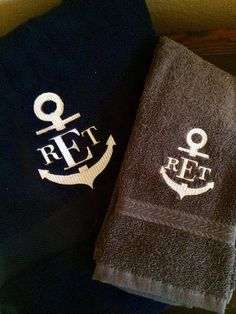 Items similar to Monogrammed Anchor Towels set of 3 on Etsy Monogrammed Beach Towels, Towel Set, Drink Sleeves, Anchor, Trending Outfits, Unique Jewelry, Handmade Gifts, Etsy, Kid Craft Gifts
