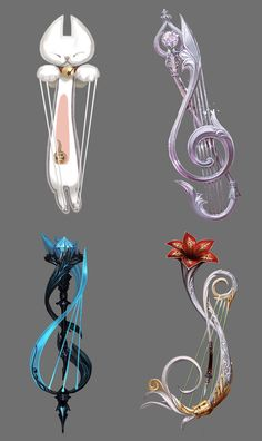 ╭⊰♥⊱╮Troubadour Weapons from K-Aion. Musical caste weapons: harp and violin. Foto Fantasy, Fantasy Art, Armas Ninja, Anime Weapons, Prop Design, Weapon Concept Art, Anime Outfits, Dungeons And Dragons, Ancient Artifacts