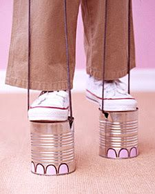 Tin Can Elephant Feet!! AKA Tin Can Stilts. Use your imagination these could be decorated any kind of way... Paint, ribbon, paper, felt, rope, etc. etc.