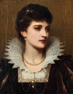 Amy Robsart by Thomas Francis Dicksee Pearls, upon upon pearls. Amy Robsart by Thomas Francis Dicksee L'art Du Portrait, Abstract Portrait, Watercolor Portraits, Female Portrait, Female Art, Painting Abstract, Watercolor Trees, Watercolor Landscape, Watercolor Paintings