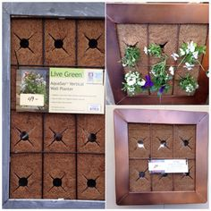 IDEA - DIY, Upcycle, Recycle.: Vertical gardening.  Frame, box in so dirt is secured.  Place coconut fiber as cover, cut to size.  Ensure hangers in back. Ensure water holes.