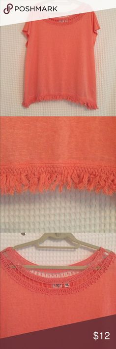 Cato Coral Top Thin and slightly sheer material with super cute fringe trim. Gently worn condition. Cato Tops