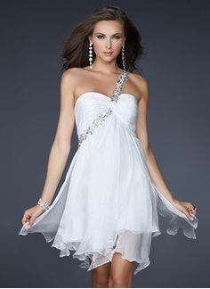 Empire One-Shoulder Knee-Length Chiffon Homecoming Dress With Ruffle Appliques Lace