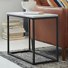 box frame narrow side white marble table