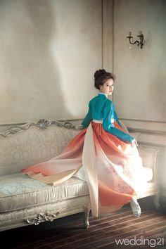 Very Romantic and love the color choices -like the puffy hair and make up for hanbok