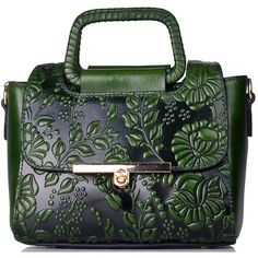 Dark Green Embossed Cowhide Leather Twist Lock Evening Top Handle ($130) ❤ liked on Polyvore featuring bags, handbags, purses, cowhide purses, hand bags, man bag, green handbags and handbag purse