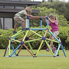 Jungle Gym Monkey Bars:Jungle gym joy in a snap! Get all the climbing fun of metal monkey bars, at a fraction of the cost, weight, and assembly time. You can set up our sturdy, lightweight climbing dome in just 30 minutes; others take up to 2 hours assembly. Dissembles easily, too, thanks to its innovative connection system. Made of durable, UV resistant plastic...