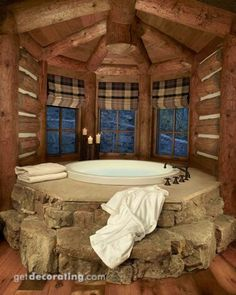 Very rustic! Pome and Chris would enjoy this beautiful hot tub! Wow!!