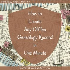 How to Locate Any Offline Genealogy Record in 1 Minute Find genealogy records at libraries and archives fast with this amazing tool for family history research. Free Genealogy Sites, Genealogy Forms, Genealogy Search, Genealogy Humor, Genealogy Chart, Family Genealogy, Genealogy Organization, Organizing, Family Tree Research