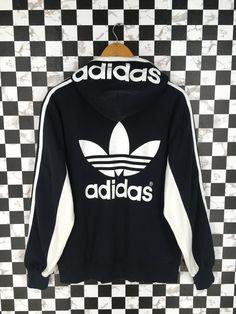 27a59e06a7 ADIDAS Hoodie Zipper Sweater Medium Black Vintage 90's Adidas Three Stripes  Sportswear Women Adidas Trefoil Sweatshirt Jumper Size M