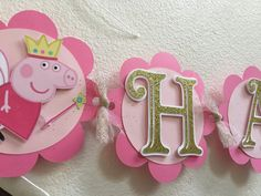 Peppa pig birthday banner  name and age by Decorationsbybelle