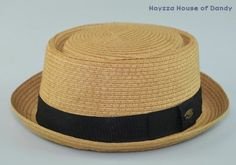 Mens Summer Upturn Pork Pie hat Round Top Fedora Brown/Black Band S/M, L/XL AVL