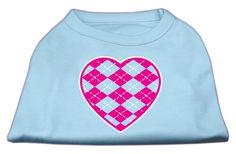 Argyle Heart Pink Screen Print Shirt Baby Blue Sm (10)