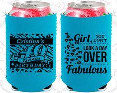 40th Birthday, 40th Neoprene Birthday, 40 and Fabulous, Not a day over Fabulous, Neoprene Birthday Can Coolers (20224)