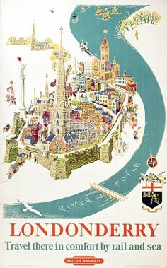 This travel poster was originally used by British Railways to promote tourism to Northern Ireland. The poster shows the Walls of Londonderry (also known as Derry). The river in the poster is the river Foyle. The age of the original travel poster dates to 1952 approximately.