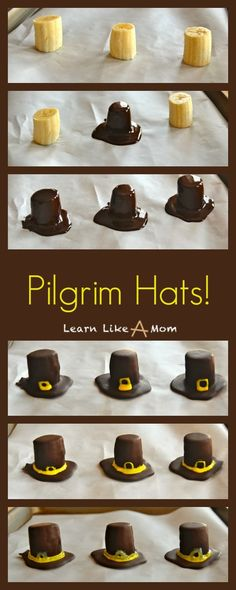 Share Tweet + 1 Mail A slightly more nutritious option for a sweet treat this month, these banana and chocolate pilgrim hats are yummy! ...