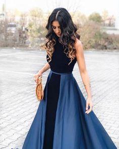 Navy Blue Long Velvet Evening Dresses Open Back Prom Gowns
