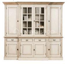 Cottage-stijl-vitrinekast-crème-met- naturel-teak-top @LIVING-shop.eu #landelijk #wonen #meubels #buffetkast #vitrinekast #boekenkast #bureau